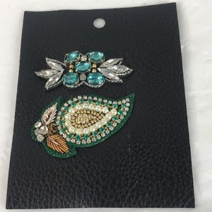 Free People hair clip pearl crystal green new